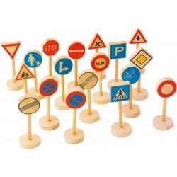 Legler Dopravné značky z dreva - sada 18 ks