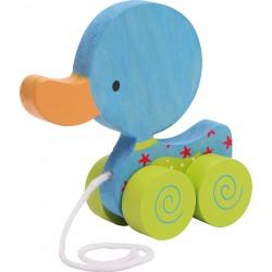 Legler Drevená hračka na ťahanie - Kačička La - modrá
