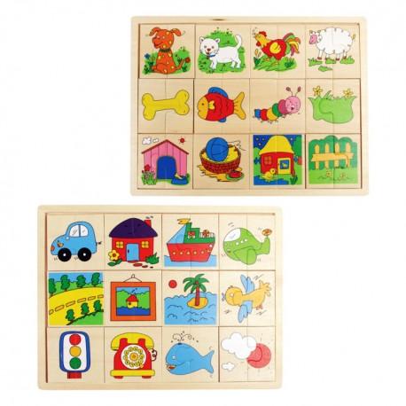 Drevené puzzle - Nájdi druhú polovičku! - 2 druhy