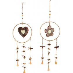 Drevená závesná dekorácia - Srdečka a Kvietok