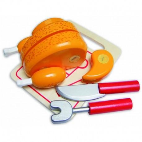Drevené potraviny na krájanie - pečené kura