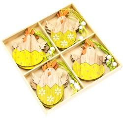 Veľkonočné dekorácie z dreva - sliepočky na vajíčku - 12 kusov
