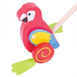 BIGJIGS Drevená hračka na tlačenie - Papagáj