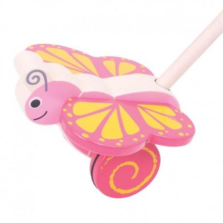 BIGJIGS Drevená hračka na tlačenie - Motýlik