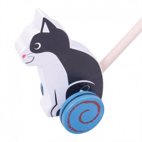 BIGJIGS Drevená hračka na tlačenie - Mačička