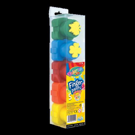 Colorino Kids prstové farby - 5 farieb s pečiatkami