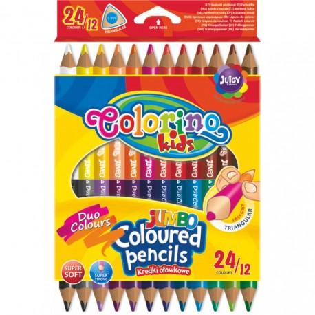 Colorino Kids farebné ceruzky 12 ks/24 farieb Jumbo