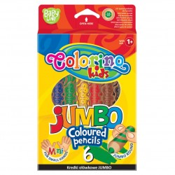 Colorino Kids farebné ceruzky 6 ks krátke Jumbo Mini
