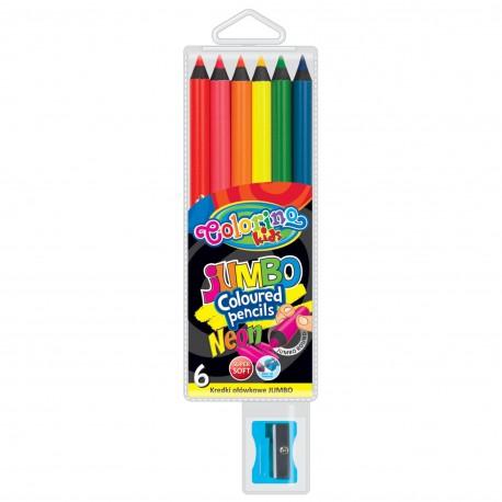 Colorino Kids farebné ceruzky 6 ks neónové hrubé