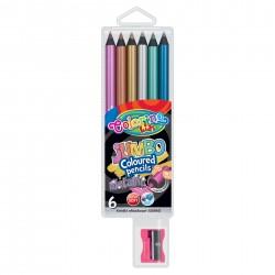 Colorino Kids farebné ceruzky 6 ks metalízované hrubé