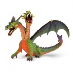 Bullyland figúrka na hranie - drak dvojhlavý zelený
