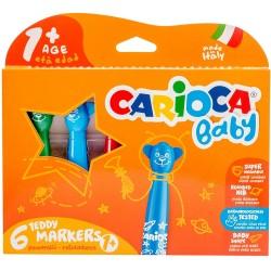 CARIOCA hrubé umývateľné fixky so zaobleným hrotom Teddy 6 farieb