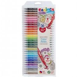 CARIOCA Farebné fixky s tenkým a hrubým hrotom 30 farieb