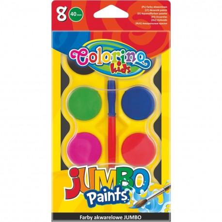 Colorino Kids vodové farby Jumbo - 8 farieb s Ø 40 mm