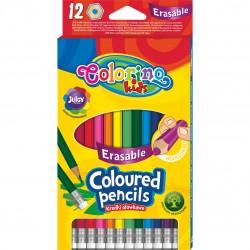 Colorino Kids farebné ceruzky šesťhranné s gumou - 12 farieb