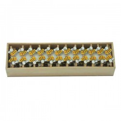 Drevené dekoračné mini štipce - 72 kusov prírodné s včielkou