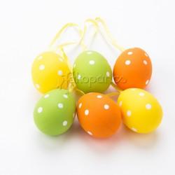 Veľkonočné vajíčka veľké 6 ks - žlté, zelené a oranžové s bodkami