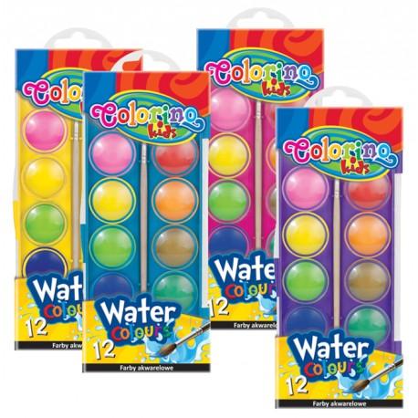 Colorino Kids vodové farby - 12 farieb s Ø 30 mm