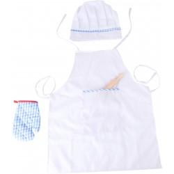 Detská 4-dielna sada oblečenia pre kuchárov - biela
