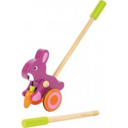Legler Drevená hračka na tlačenie - Zajačik s mrkvou