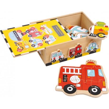 Drevené puzzle v krabičke - vozidlá