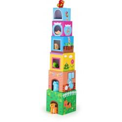 Drevená skladačka - Veža z kociek so zvieratkami