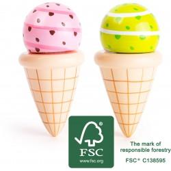 SMALL FOOT Drevené zmrzliny v kornútkoch