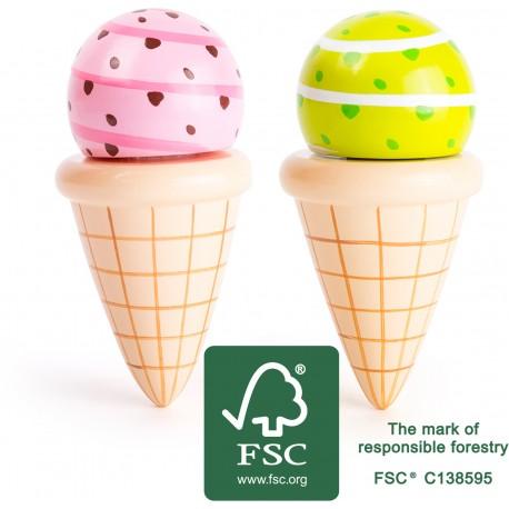 Drevené zmrzliny v kornútkoch