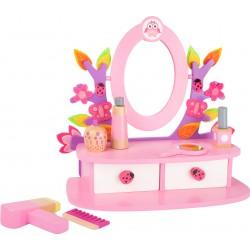 Drevený kozmetický stolík so zrkadlom