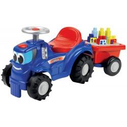 ÉCOIFFIER detské odrážadlo Traktor s prívesom Maxi Abrick + 10 kociek
