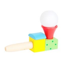 Drevená hračka - fúkanie loptičky - vláčik červený