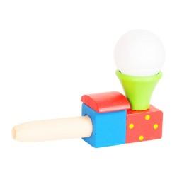 Drevená hračka - fúkanie loptičky - vláčik zelený