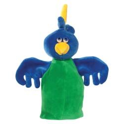 Plyšová divadelná maňuška - Papagáj zeleno-modrý