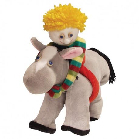 Divadelná maňuška päťprstová - Chlapček na koníkovi - 22 cm