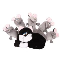 Divadelná maňuška päťprstová - Mačička a myšky - 22 cm