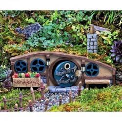Domček pre miniatúrne záhradky - Chalúpka s modrými dverami