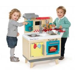 Drevená kuchynka pre deti Wood Cook Smoby s kávovarom, barovým pultom a 22 doplnkami