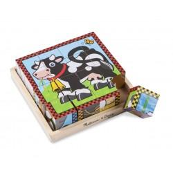 Melissa & Doug Drevené obrázkové kocky – Farma