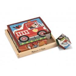 Melissa & Doug Drevené obrázkové kocky – Dopravné prostriedky