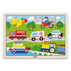 VIGA Drevené puzzle - 24 dielikov - Dopravné prostriedky