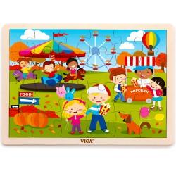 VIGA Drevené puzzle - 24 dielikov - 4 ročné obdobia - Jeseň