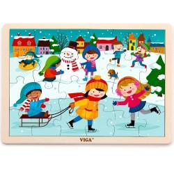 VIGA Drevené puzzle - 24 dielikov - 4 ročné obdobia - Zima