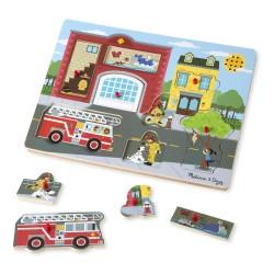 Melissa & Doug Drevené zvukové puzzle - Požiarna stanica