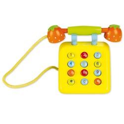 Detský drevený telefón - žltý