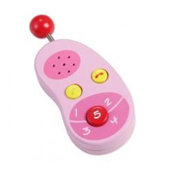 Detský drevený mobilný telefón - ružový