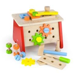 Drevený pracovný stolík a kufrík s náradím 2v1