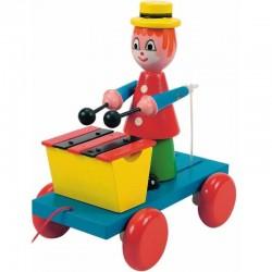 Drevená hračka na ťahanie - Klaun s xylofónom