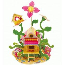 Drevený farebný model - Kvetinový domček
