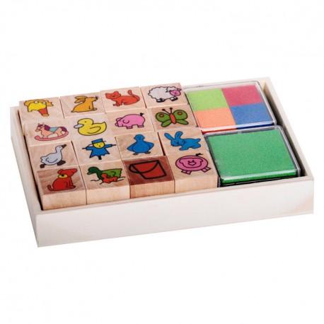 Detské pečiatky - set v krabičke - Domáce zvieratká