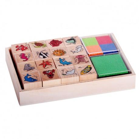 Detské pečiatky - set v krabičke - Morské živočíchy